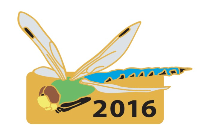 Annual pin for 2016 with a dragonfly illustration