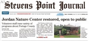 Stevens Point Journal June 30, 2017 screenshot of story about Jordan Nature Center